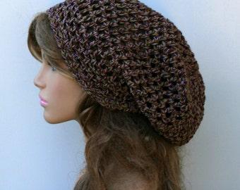 Slouchy beanie, Crochet open stitch vineyard twist Cotton Sock Dread Tam, Hippie Bohemian slouchy hat, slouch summer woman beanie handmade