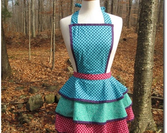 Retro-Style Frilly Floral Apron