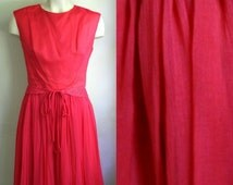 Vintage Late 50s Early 60s  R & K Originals  Hot Pink Taffeta and Chiffon Dress w/ Beaded Belt // small