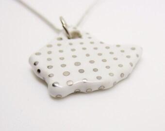 Silver Metallic Polka Dot Ohio Necklace Glazed Ceramic on an 18 inch Silver Chain