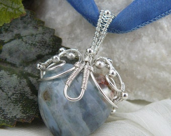 Wire Wrapped Heart Necklace ~ Wire Wrapped Heart Pendant ~ Blue Sodalite Pendant ~ Blue Heart Pendant ~ Silver Wire Wrapping ~Sodalite Heart
