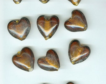 Brown Heart Beads, 20mm Dark Brown Foil Core Heart Glass Spacer Beads Set 11 Bead Hearts 0113