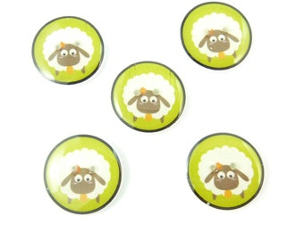 """5 Primitive Sheep Buttons.  3/4"""" or 20 mm round.  Handmade Buttons. Novelty Buttons.  Craft Buttons."""