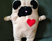 "Rudy ~ The ""Tongue Out"" Pug Bummlie ~ Stuffing Free Dog Toy ~ Ready To Ship Today"