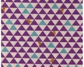 Sale HALF YARD Kokka Trefle - Triangles and Bears - Geometric Purple, Aqua Blue and Natural - Say Hi Brown Bear - Japanese Imported Fabric