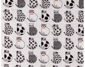 HALF YARD - Black Cats on White - Stripes, Dots Red Bowties Flowers Stars, Drawing Outline - Crazy Cat Kitty Fabric - Westex Japanese Import