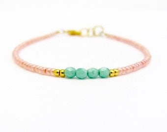 Peach Friendship Bracelet, Turquoise Friendship Bracelet, Beaded Bracelet, Seed Bead Bracelet, Peach Blue, Yoga Zen Jewelry, Stack Layer