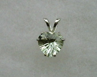 10mm Prasiolite Green Amethyst Gemstone Heart in 925 Sterling Silver Pendant Necklace