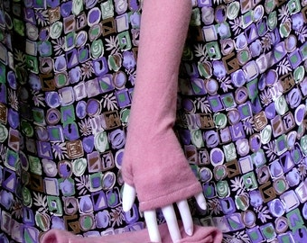 cashmere fingerless gloves in orchid ~ arm warmers boho chic teen mori girl texting gloves boho mittens handmade upcycled
