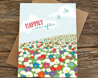 wedding card / happily ever after / wildflowers