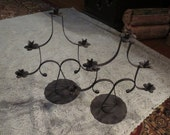 ON SALE Vintage 1960's Large Black Wrought Iron Candle Holders Candelabra