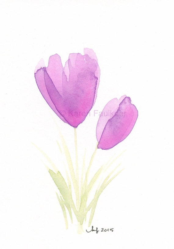 Watercolor flower note cards, set of four assorted: Set No. 7