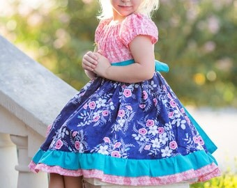 Girls Navy and Pink Dress- Girls Flower Dress- Blue Floral  Dress- Party Dress- Back to School Dress- First Day of School- Birthday Dress