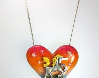 Unicorn Heart Necklace, Unicorn Love Jewelry, Unicorn Fantasy Necklace, Elegant Unicorn Jewelry, Unicorn Forest Jewelry, Fairy Tale Necklace