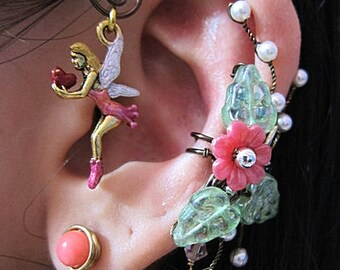 Love Fairy In The Pink Garden Ear Wrap, Ear Cuff And Stud Earring Fantasy Fae Faerie Fay Jewelry Mystical Woodland Nature