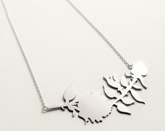 New York State Floral Rose Silhouette Statement Necklace. Floral Statement Necklace. Silver Rose Silhouette Necklace