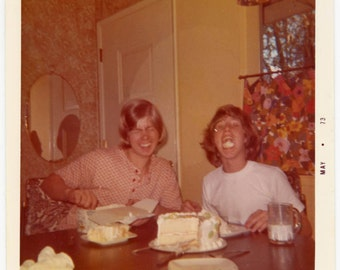 vintage photo 1973 Teenage Boys Eat Birthday Cake Color Snapshot photo