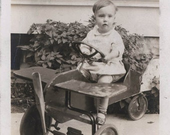 vintage photo Little Boy Pedal Toy Airplane Home Made Wooden Cart