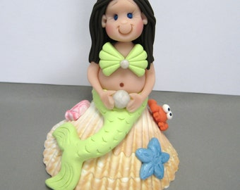 Mermaid Cake Topper birthday cake decoration polymer clay Custom Made To Order
