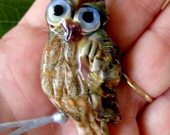 Blue Eyes Lampwork Owl Bead