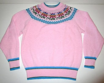 Nordic Style Sweater by Adell Barre Vintage 70's - Size Medium (runs small) Pastel Pink with Rainbow Metallic Details - Floral Knit Design