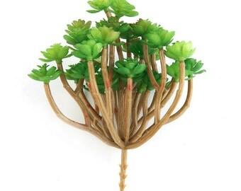 Fake Succulents - Mini Sedum Bush Pick with 34 Artificial Mini Succulents in Green - artificial succulents - ITEM 0535