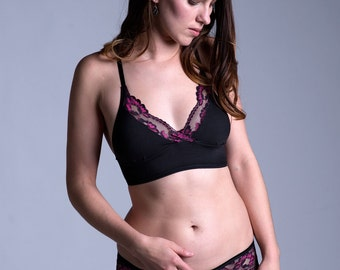 Organic Cotton Bra - Black Cotton with Black and Pink Lace 'Acacia' Bralette - Made To Order Lingerie