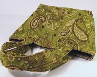 Mini Tote - Green & Brown Paisley - Purse - Handbag - Gift - Holiday - Christmas