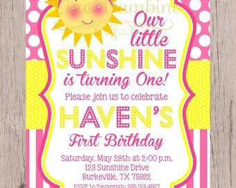 PRINTABLE You are My Sunshine Birthday Party Invitation / PRINTABLE Sunshine Invitation in Pink and Yellow with Polka Dots / You Print