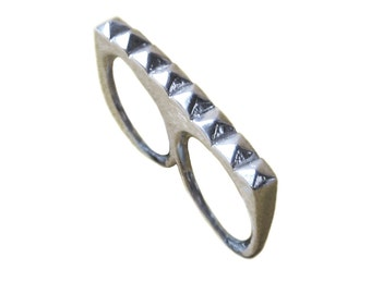 Two Finger Ring      studs studded double gold silver 2 sterling statement jewelry