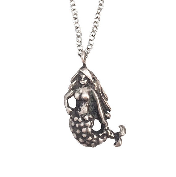 MERMAID NECKLACE silver gold pendant charm little