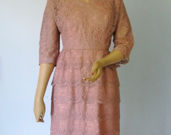 Mother of the Bride - Vintage 1950s Tiered Pink Lace Cocktail Party Dress  12 14