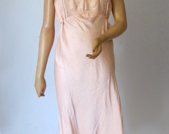 Ethereal Vintage 1920s 30s Bias Cut Pink Satin Night Gown Large