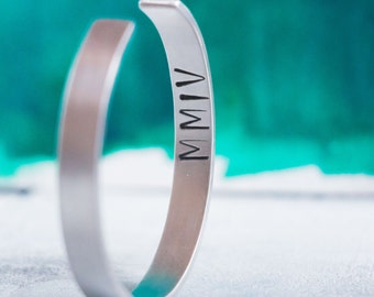 Men's Personalized Cuff Bracelet with Names, Date, Roman Numerals, Word or Quote  {Hand Stamped Sterling Silver}
