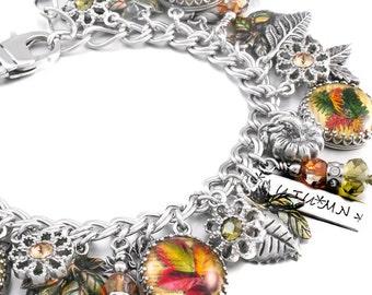 Silver Leaves Charm Bracelet, Photo Jewelry, Autumn Jewelry, Fall Jewelry, Autumn Charm Bracelet