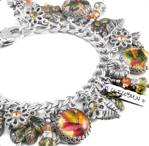 Silver Leaves Charm Bracelet, Photo Jewelry, Autumn Jewelry, Fall Jewelry, Autumn Charm Bracelet