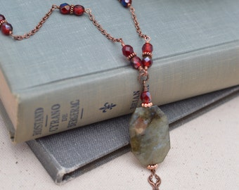 As Seen On The Vampire Diaries - Labradorite and Antiqued Copper Necklace Vampire Diaries Necklace Handmade Necklace