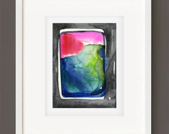 "Abstract Watercolor Painting, Spiritual Art, Original Minimalist Colorful, black, blue, red, ""Magic Window 1"" by Kathy Morton Stanion EBSQ"