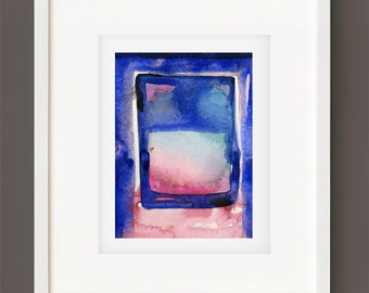 "Abstract Watercolor Painting, Spiritual Art, Original Minimalist Colorful, blue, pink, black ""Magic Window 7"" by Kathy Morton Stanion EBSQ"