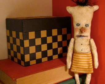 little weird monster doll , sandy mastroni, odd monster , whimsical wall art ,shelf art,