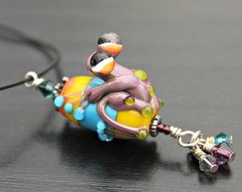 Rhonda the Purple Handmade Glass Frog Bead Pendant in Sterling Silver