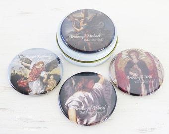 Archangels Magnet Set-  4 Angel magnets in gift tin/pill/trinket box Archangels- Micheal, Raphael, Gabriel, Uriel