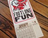 FOOT LONG FUN Hot Dog Boy Letterpress Printed Poster Calendar 2017