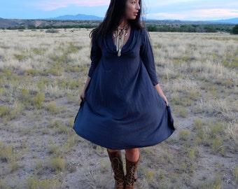 Organic Gypsy Petal Back Short Dress (light hemp/organic cotton knit) - organic dress