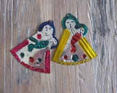 2 Mexican Folk Art Handpainted Punched Tin Madonna & Child Christmas Ornaments #1