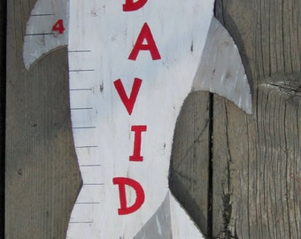 SHARK Wood Growth Chart - Original Hand Painted Personalized Keepsake - Hammerhead/Great White