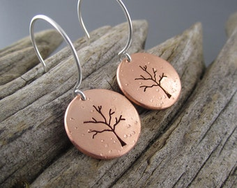 Handmade Copper Winter Tree Earrings