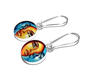 Celestial Earrings, Sun and Moon Earrings, Dangle Earrings, Moon Jewelry, Resin Jewelry, Handmade Earrings, Blue, Yellow