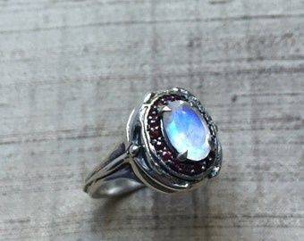 Rainbow Moonstone and Rubies- Damselfly Halo Ring in Sterling Silver