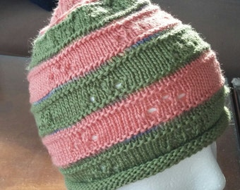 Striped hat with bamboo yarn